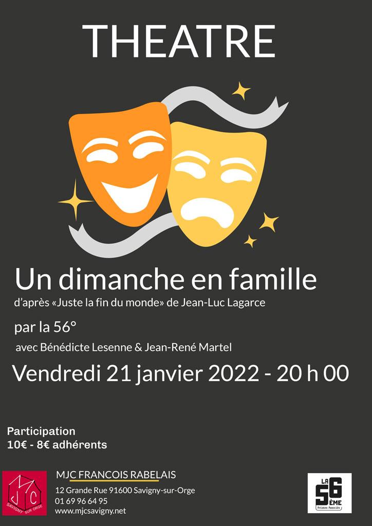 Théâtre : Un dimanche en famille le 21 janvier 2022