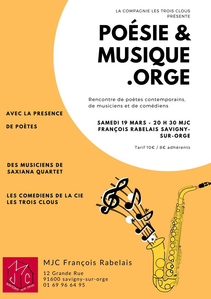 Poésie & Musique.orge, le 19 mars 2022 à 20 h 00